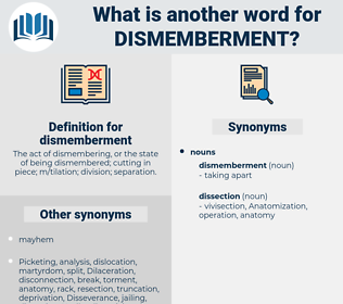 dismemberment, synonym dismemberment, another word for dismemberment, words like dismemberment, thesaurus dismemberment