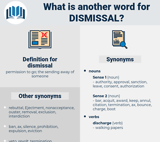 dismissal, synonym dismissal, another word for dismissal, words like dismissal, thesaurus dismissal