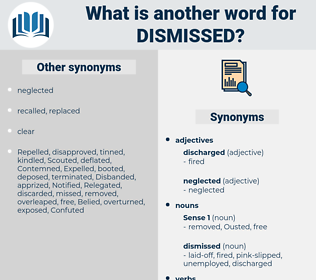 dismissed, synonym dismissed, another word for dismissed, words like dismissed, thesaurus dismissed