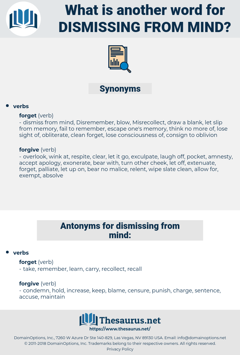 dismissing from mind, synonym dismissing from mind, another word for dismissing from mind, words like dismissing from mind, thesaurus dismissing from mind