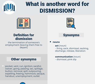 dismission, synonym dismission, another word for dismission, words like dismission, thesaurus dismission