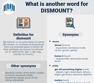 dismount, synonym dismount, another word for dismount, words like dismount, thesaurus dismount