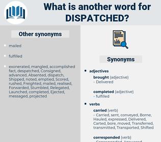 dispatched, synonym dispatched, another word for dispatched, words like dispatched, thesaurus dispatched