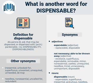 dispensable, synonym dispensable, another word for dispensable, words like dispensable, thesaurus dispensable