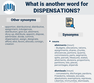 dispensations, synonym dispensations, another word for dispensations, words like dispensations, thesaurus dispensations