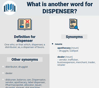 dispenser, synonym dispenser, another word for dispenser, words like dispenser, thesaurus dispenser