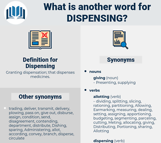 Dispensing, synonym Dispensing, another word for Dispensing, words like Dispensing, thesaurus Dispensing