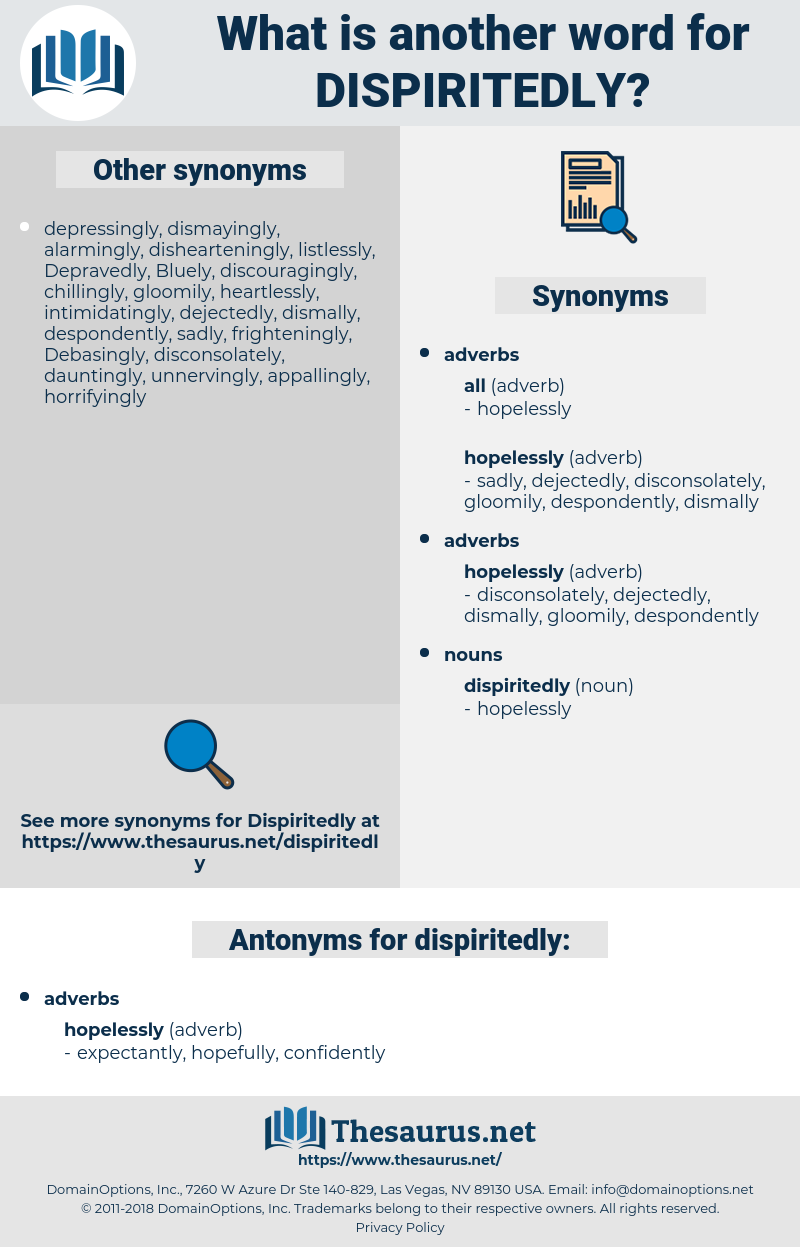 dispiritedly, synonym dispiritedly, another word for dispiritedly, words like dispiritedly, thesaurus dispiritedly