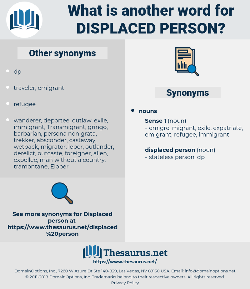 displaced person, synonym displaced person, another word for displaced person, words like displaced person, thesaurus displaced person