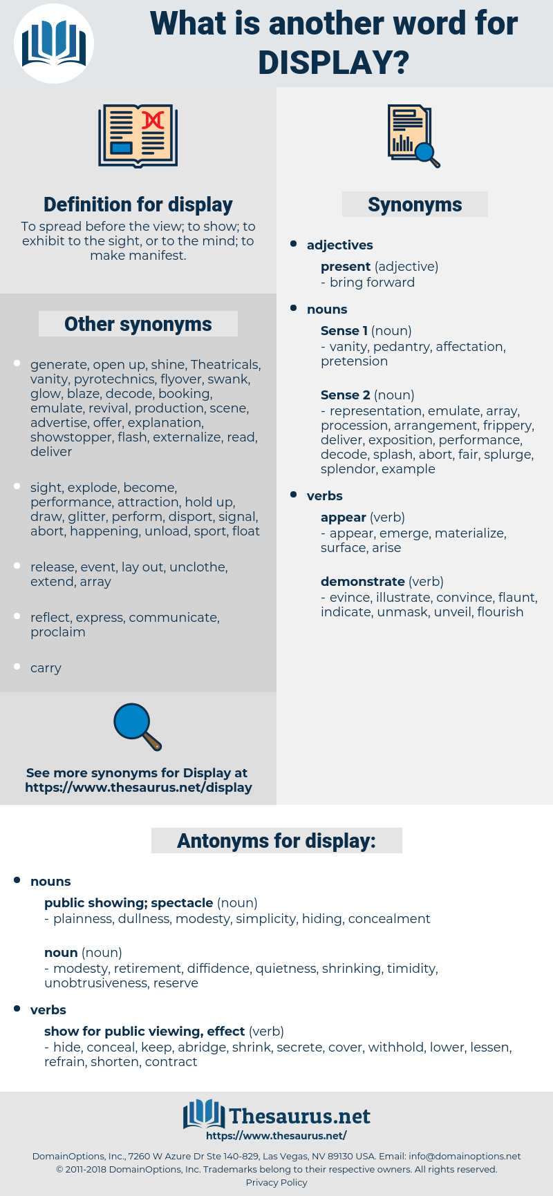 display, synonym display, another word for display, words like display, thesaurus display
