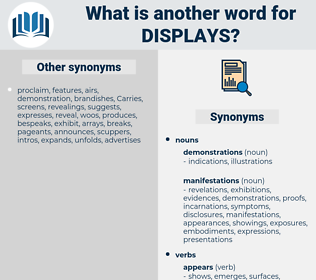 displays, synonym displays, another word for displays, words like displays, thesaurus displays
