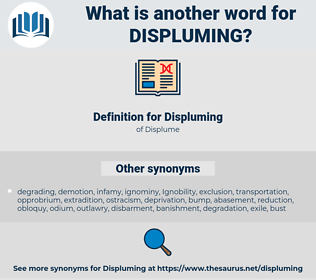 Displuming, synonym Displuming, another word for Displuming, words like Displuming, thesaurus Displuming