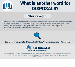 disposals, synonym disposals, another word for disposals, words like disposals, thesaurus disposals