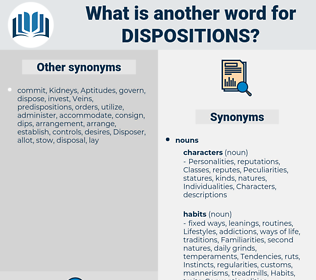 dispositions, synonym dispositions, another word for dispositions, words like dispositions, thesaurus dispositions