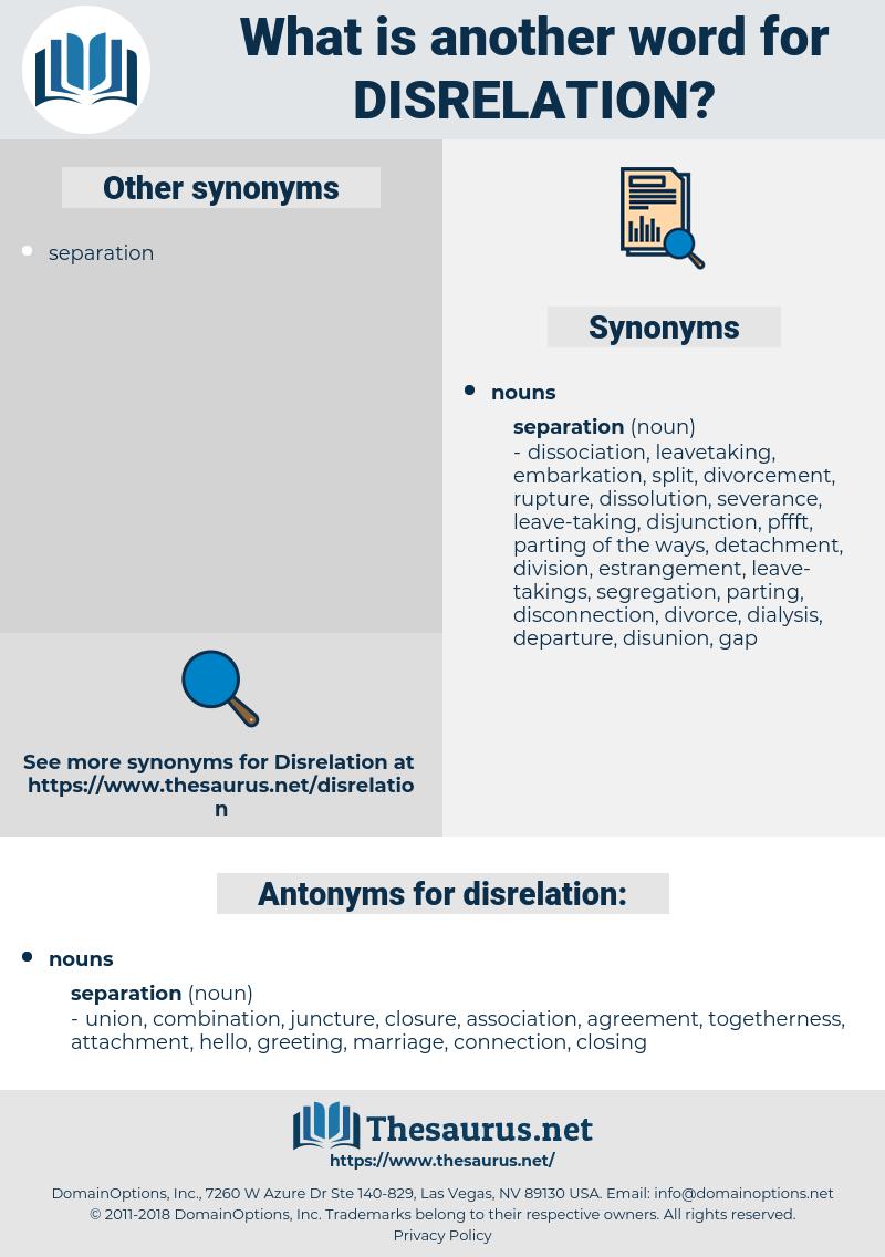 disrelation, synonym disrelation, another word for disrelation, words like disrelation, thesaurus disrelation