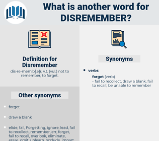 Disremember, synonym Disremember, another word for Disremember, words like Disremember, thesaurus Disremember