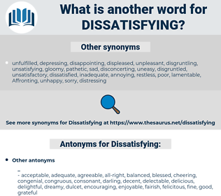 Dissatisfying, synonym Dissatisfying, another word for Dissatisfying, words like Dissatisfying, thesaurus Dissatisfying
