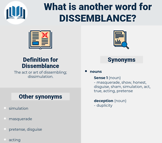 Dissemblance, synonym Dissemblance, another word for Dissemblance, words like Dissemblance, thesaurus Dissemblance