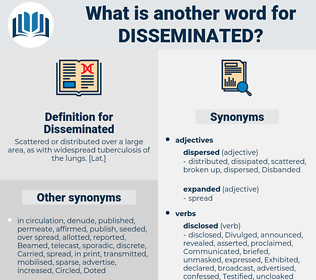 Disseminated, synonym Disseminated, another word for Disseminated, words like Disseminated, thesaurus Disseminated