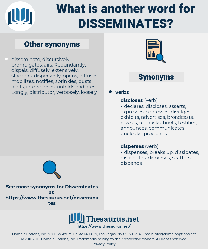 disseminates, synonym disseminates, another word for disseminates, words like disseminates, thesaurus disseminates
