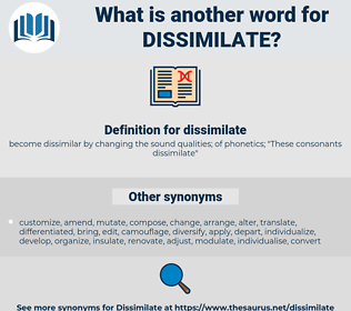dissimilate, synonym dissimilate, another word for dissimilate, words like dissimilate, thesaurus dissimilate