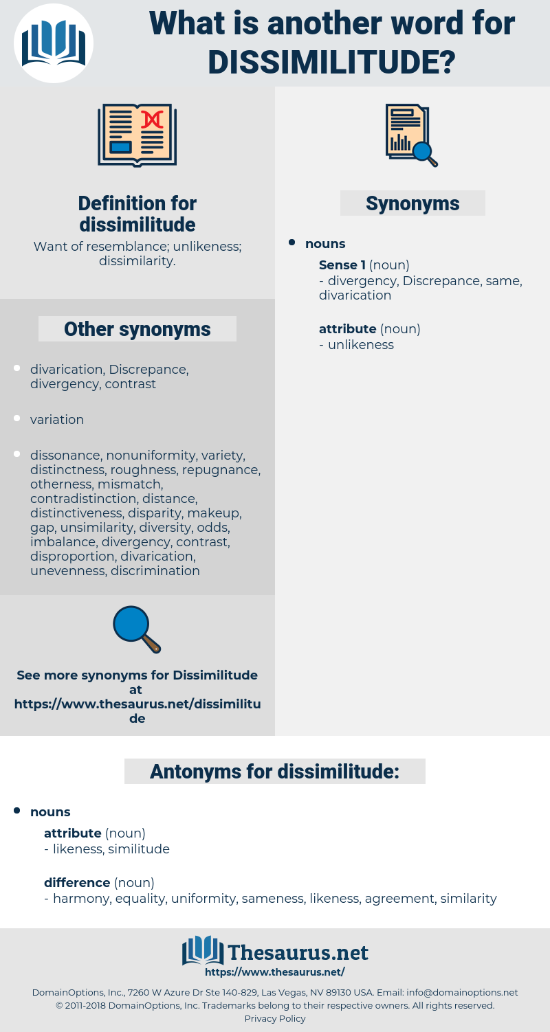 dissimilitude, synonym dissimilitude, another word for dissimilitude, words like dissimilitude, thesaurus dissimilitude