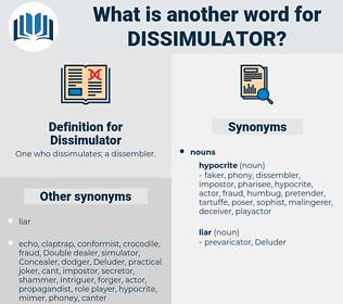 Dissimulator, synonym Dissimulator, another word for Dissimulator, words like Dissimulator, thesaurus Dissimulator