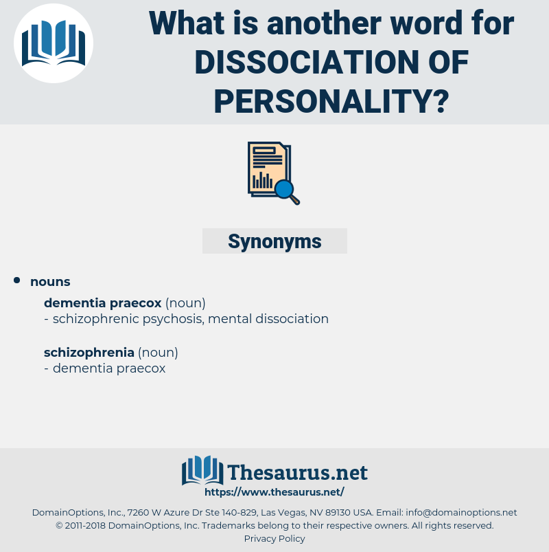 dissociation of personality, synonym dissociation of personality, another word for dissociation of personality, words like dissociation of personality, thesaurus dissociation of personality