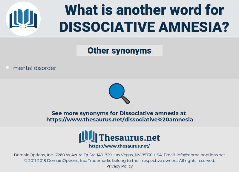 Dissociative Amnesia, synonym Dissociative Amnesia, another word for Dissociative Amnesia, words like Dissociative Amnesia, thesaurus Dissociative Amnesia