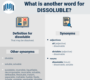 dissoluble, synonym dissoluble, another word for dissoluble, words like dissoluble, thesaurus dissoluble