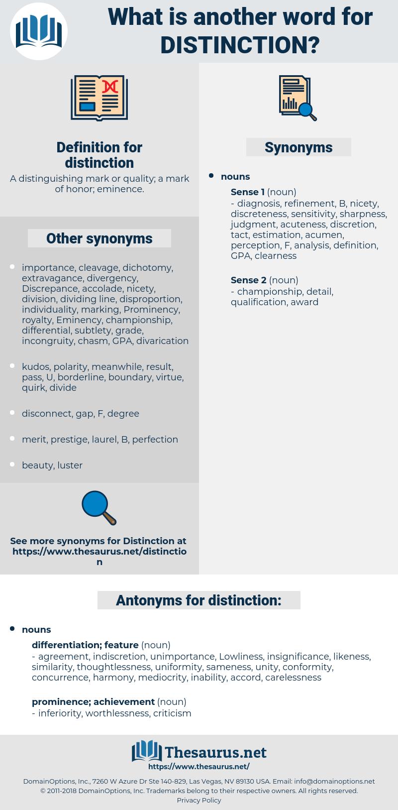 distinction, synonym distinction, another word for distinction, words like distinction, thesaurus distinction