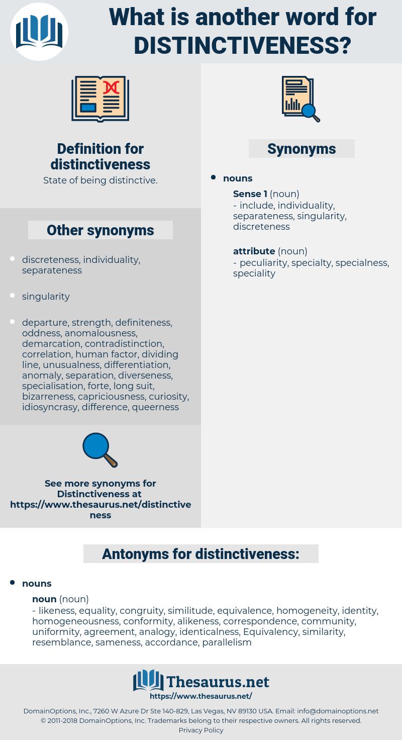 distinctiveness, synonym distinctiveness, another word for distinctiveness, words like distinctiveness, thesaurus distinctiveness