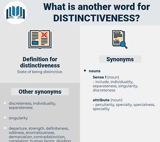 distinctiveness, synonym distinctiveness, another word for distinctiveness, words like distinctiveness, thesaurus distinctiveness