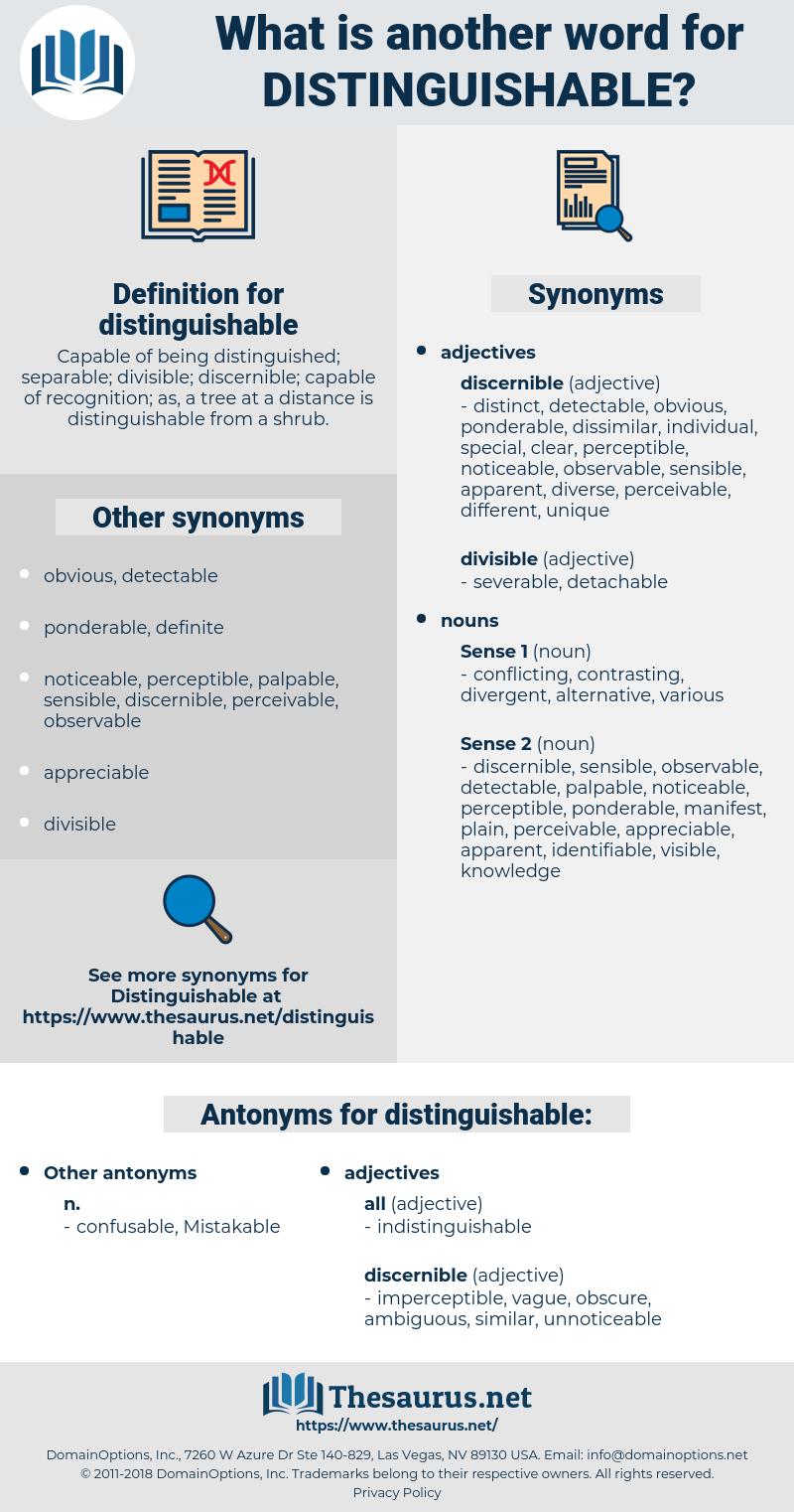 distinguishable, synonym distinguishable, another word for distinguishable, words like distinguishable, thesaurus distinguishable
