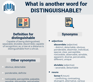 distinguishable, synonym distinguishable, another word for distinguishable, words like distinguishable, thesaurus distinguishable