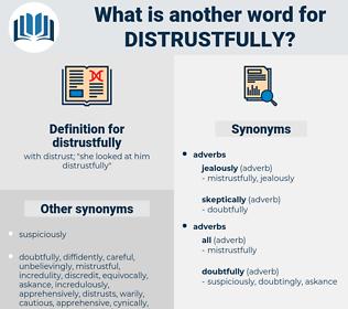 distrustfully, synonym distrustfully, another word for distrustfully, words like distrustfully, thesaurus distrustfully