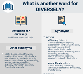 diversely, synonym diversely, another word for diversely, words like diversely, thesaurus diversely