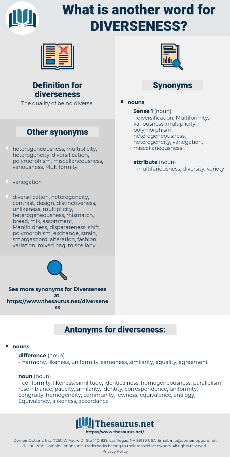 diverseness, synonym diverseness, another word for diverseness, words like diverseness, thesaurus diverseness