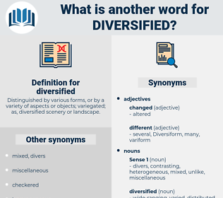 diversified, synonym diversified, another word for diversified, words like diversified, thesaurus diversified