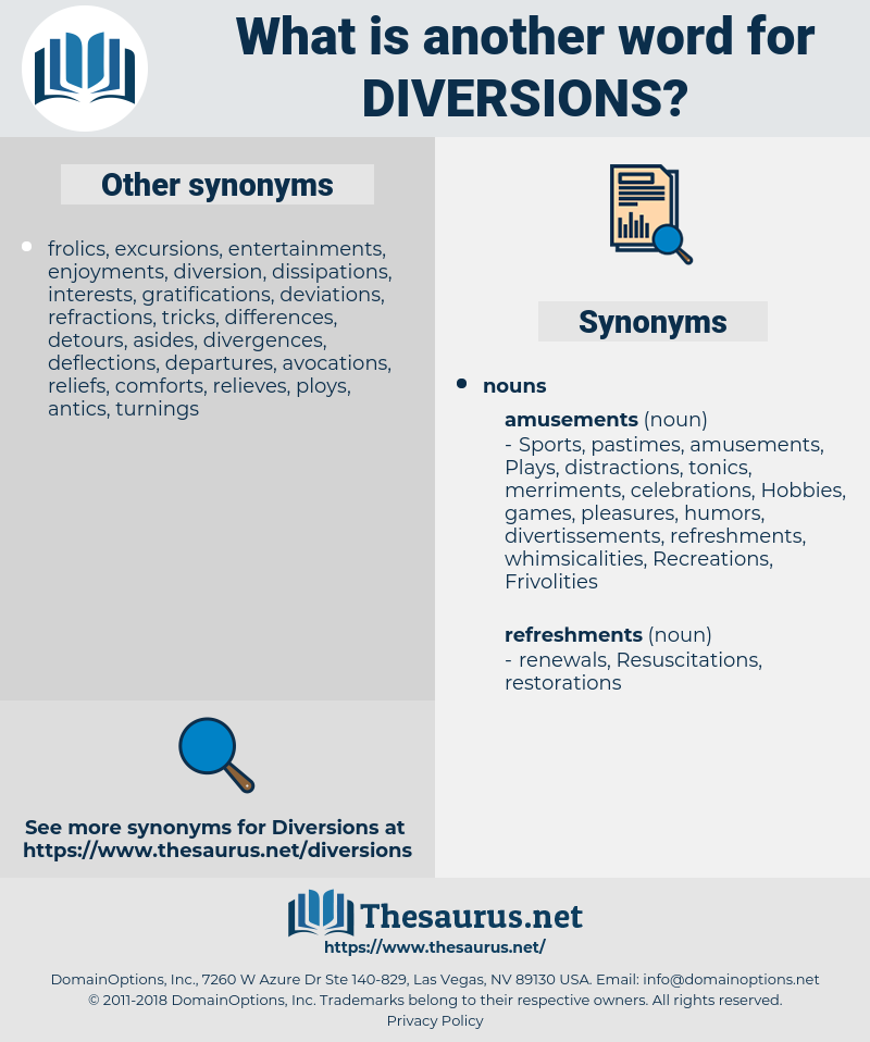 diversions, synonym diversions, another word for diversions, words like diversions, thesaurus diversions