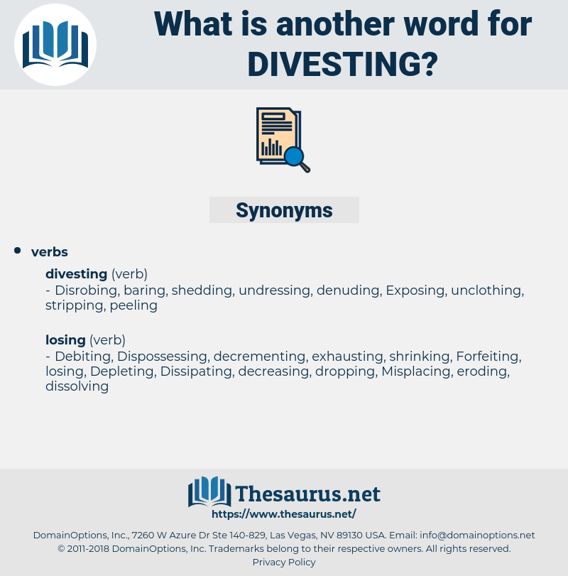 Divesting, synonym Divesting, another word for Divesting, words like Divesting, thesaurus Divesting