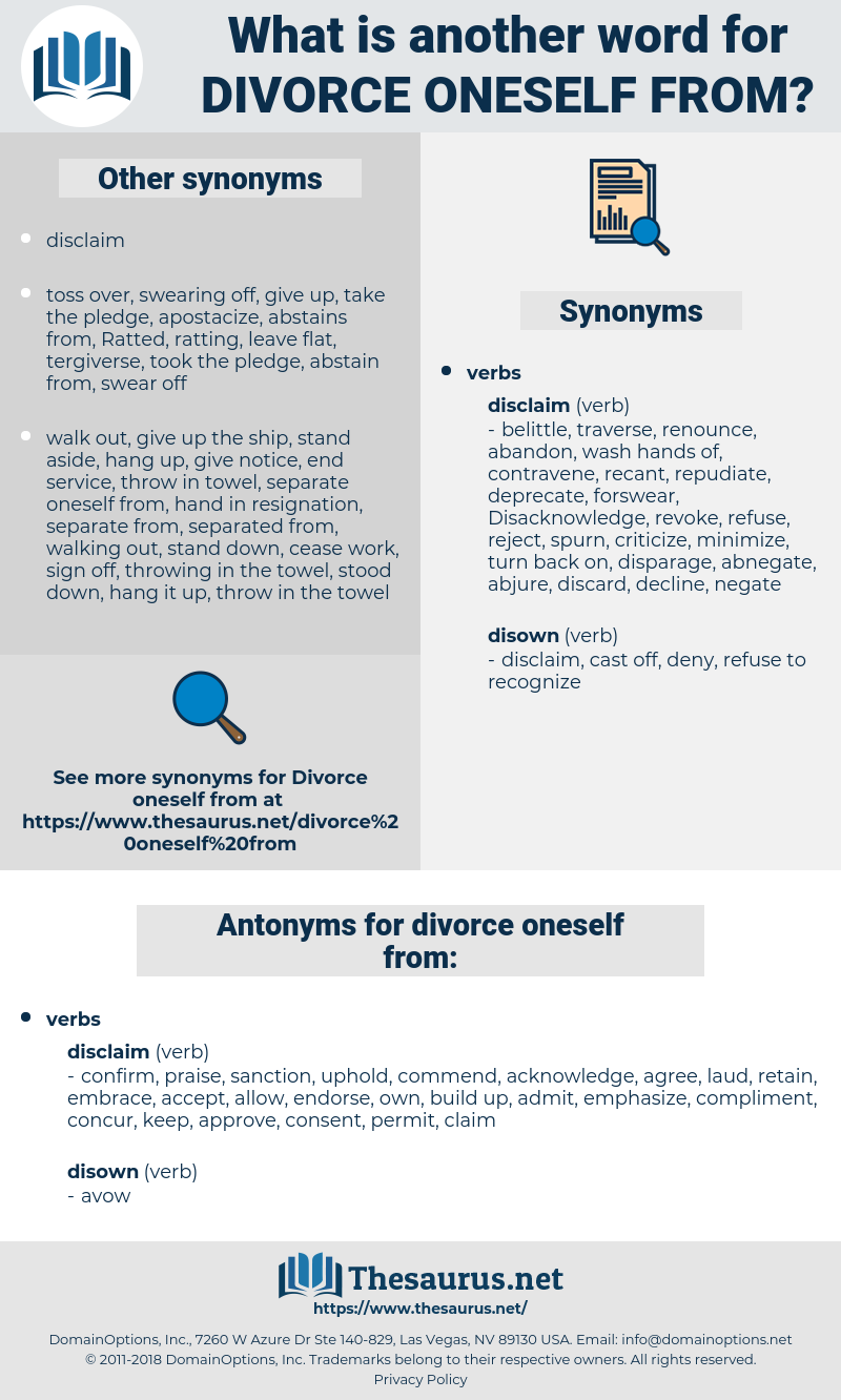 divorce oneself from, synonym divorce oneself from, another word for divorce oneself from, words like divorce oneself from, thesaurus divorce oneself from