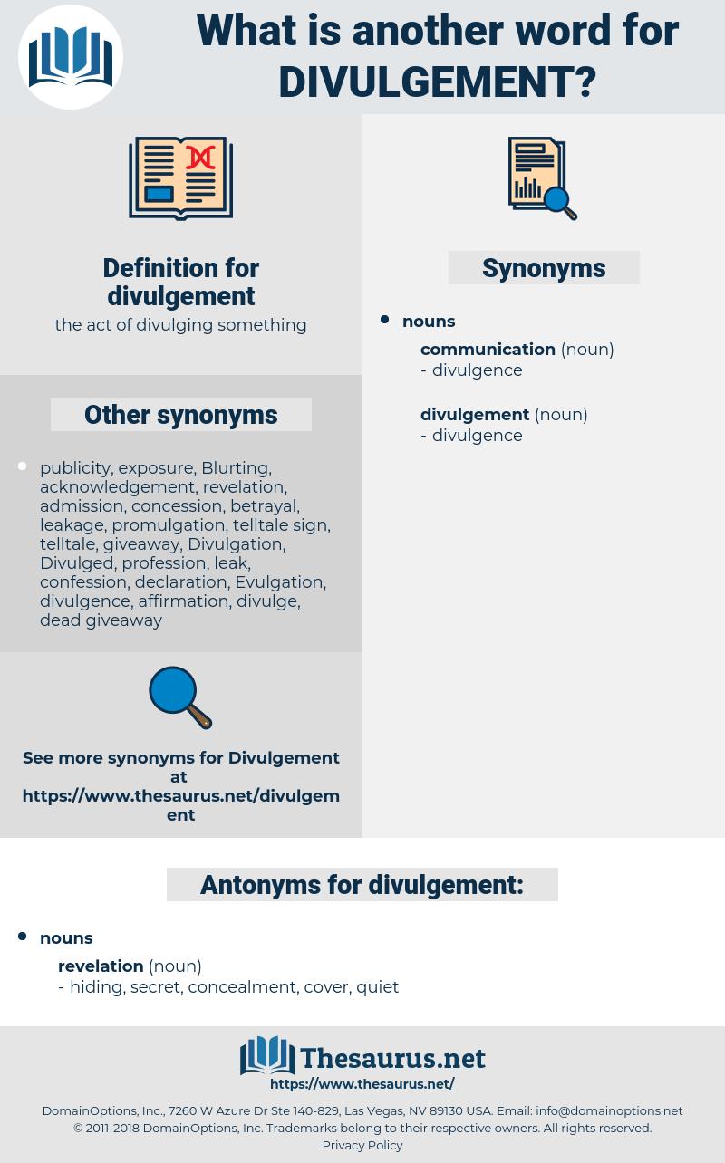 divulgement, synonym divulgement, another word for divulgement, words like divulgement, thesaurus divulgement