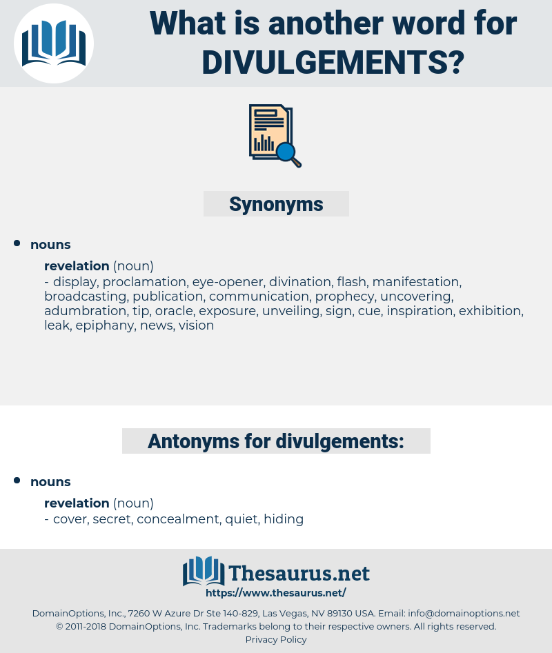 divulgements, synonym divulgements, another word for divulgements, words like divulgements, thesaurus divulgements