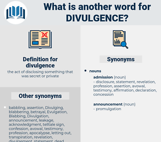 divulgence, synonym divulgence, another word for divulgence, words like divulgence, thesaurus divulgence