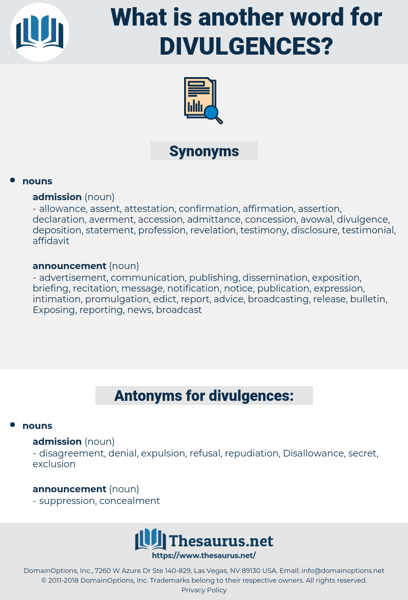 divulgences, synonym divulgences, another word for divulgences, words like divulgences, thesaurus divulgences