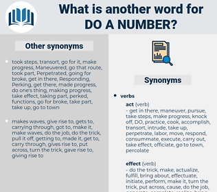 do a number, synonym do a number, another word for do a number, words like do a number, thesaurus do a number