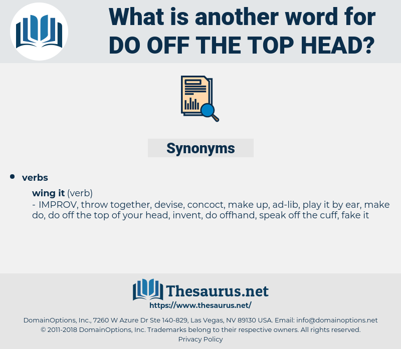 do off the top head, synonym do off the top head, another word for do off the top head, words like do off the top head, thesaurus do off the top head