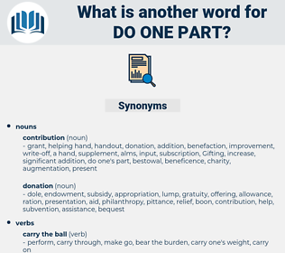 do one part, synonym do one part, another word for do one part, words like do one part, thesaurus do one part