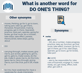 do one's thing, synonym do one's thing, another word for do one's thing, words like do one's thing, thesaurus do one's thing